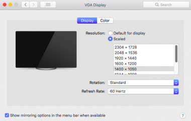 Scaled display option macOS